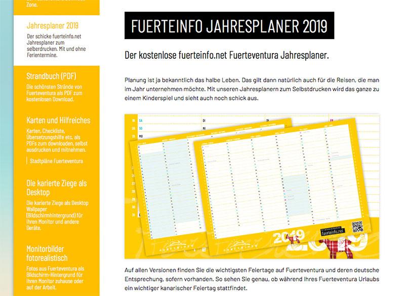 fuerteinfo kostenlose jahresplaner 2019