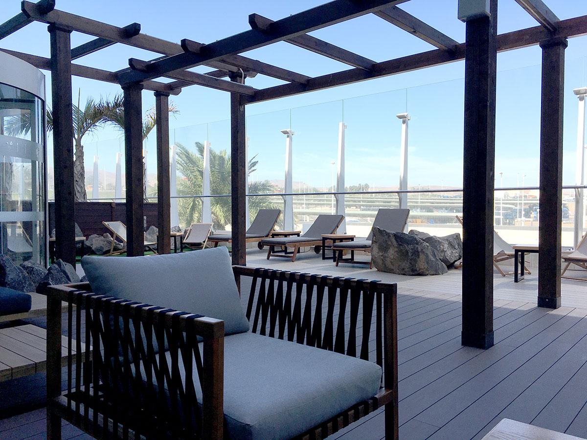 terrasse des lounge bereiches sala vip jable flughafen fuerteventura